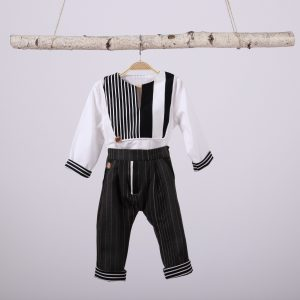 set pantalon si camasa baieti alb& negru