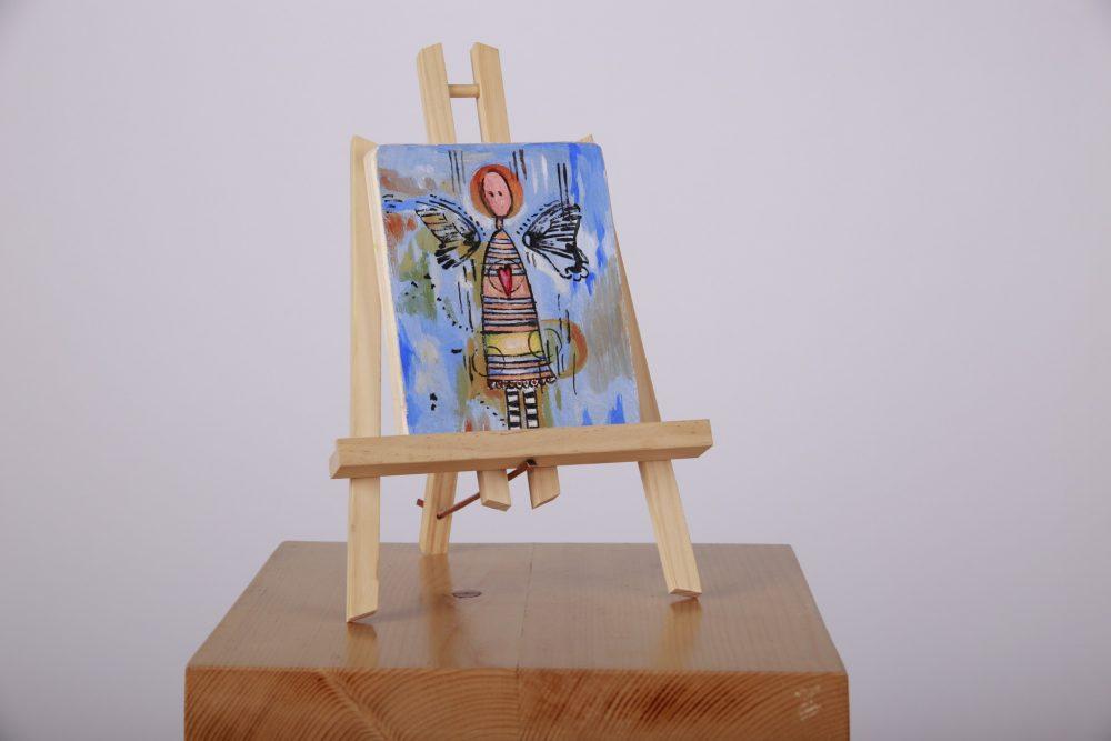 Tablou cu îngeraș ocrotitor, pictat pe lemn