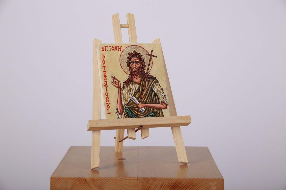 Icoană pictată pe lemn, cu foiță de aur