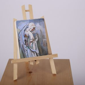 pictura pe lemn ingeras