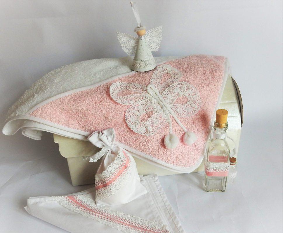 Trusou pentru botez unicat alb cu roz- Fluturasul