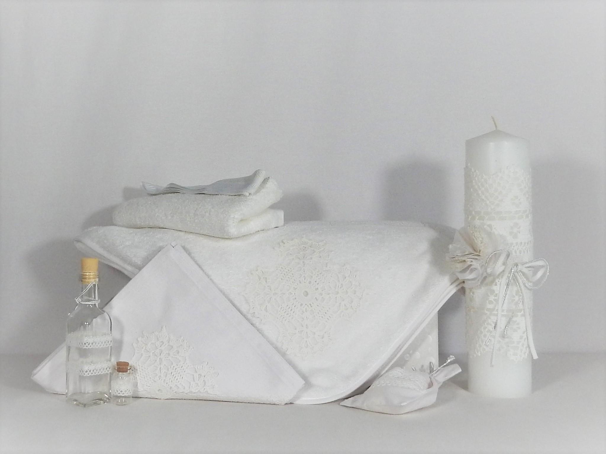 Set trusou botez alb cu lumânare- Ca zăpada Albă