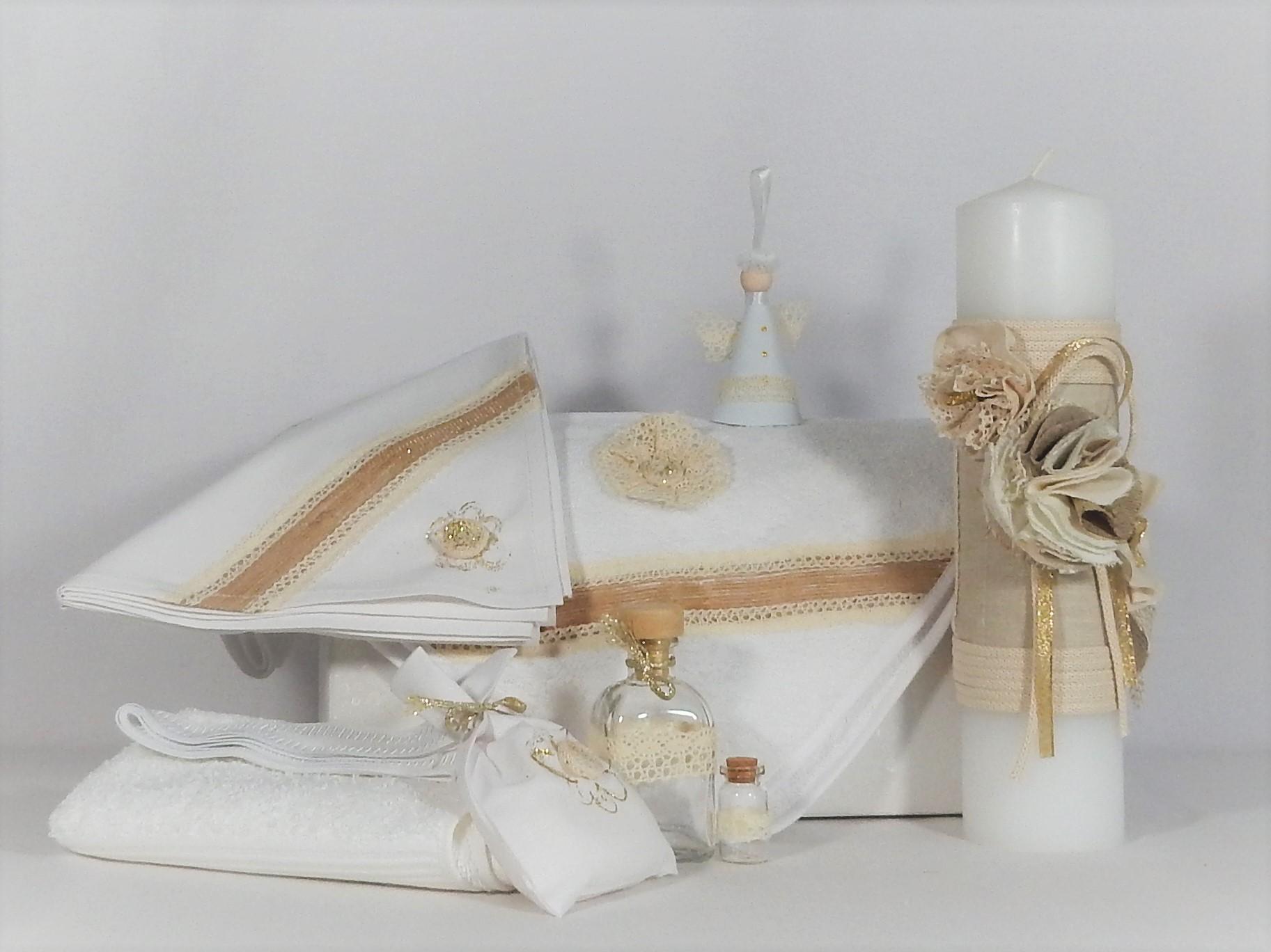 Set trusou alb și lumânare parafină pentru botez- Floare de In