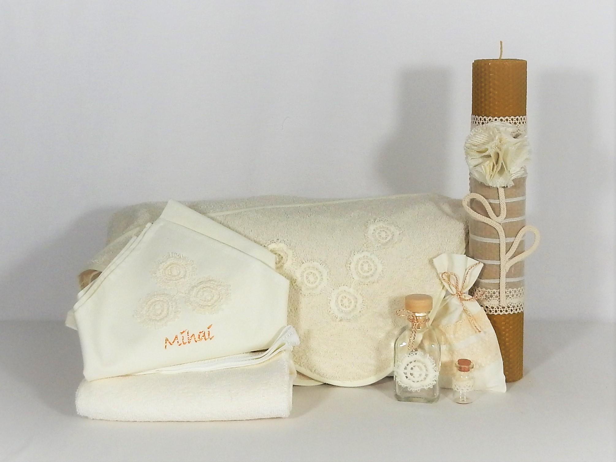 Trusou ivoire cu lumânare din ceară naturală- Floare de Vanilie