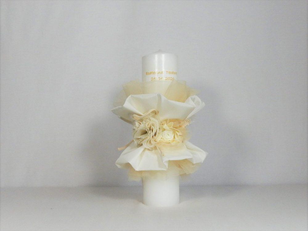 lumanare unicat botez spuma de vanilie