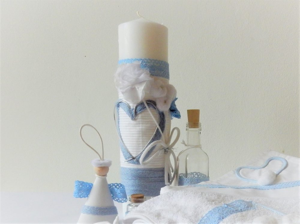 Lumânare unicat pentru botez- Inima Albastra