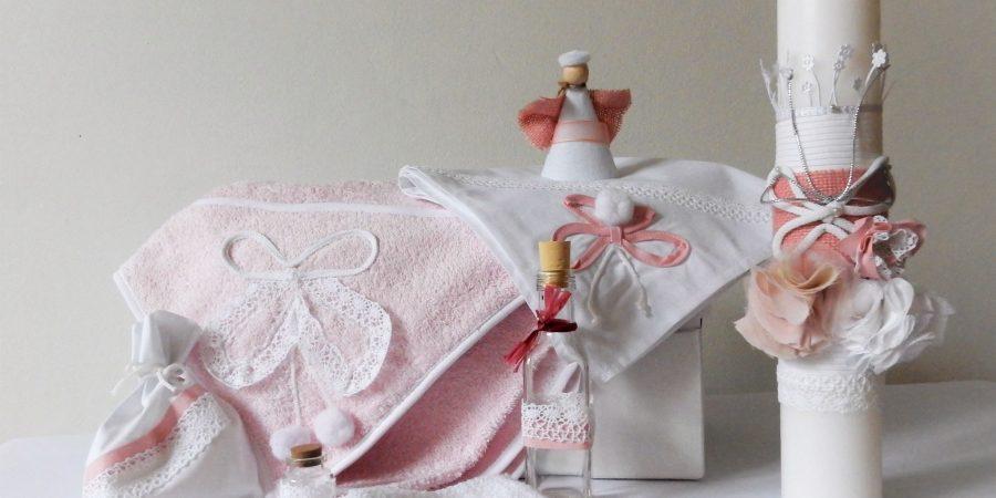 trusou botez alb cu roz fluturasu