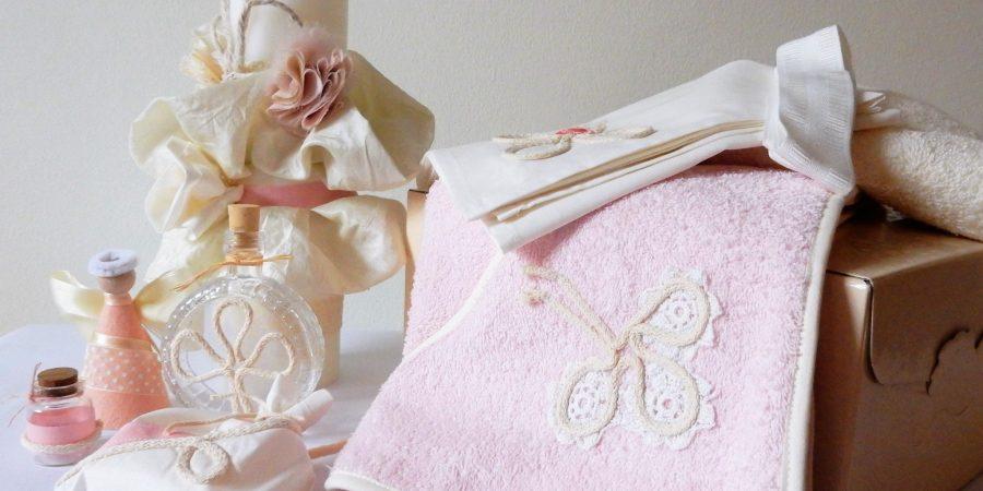 trusou botez ivoire cu trifoi pe roz