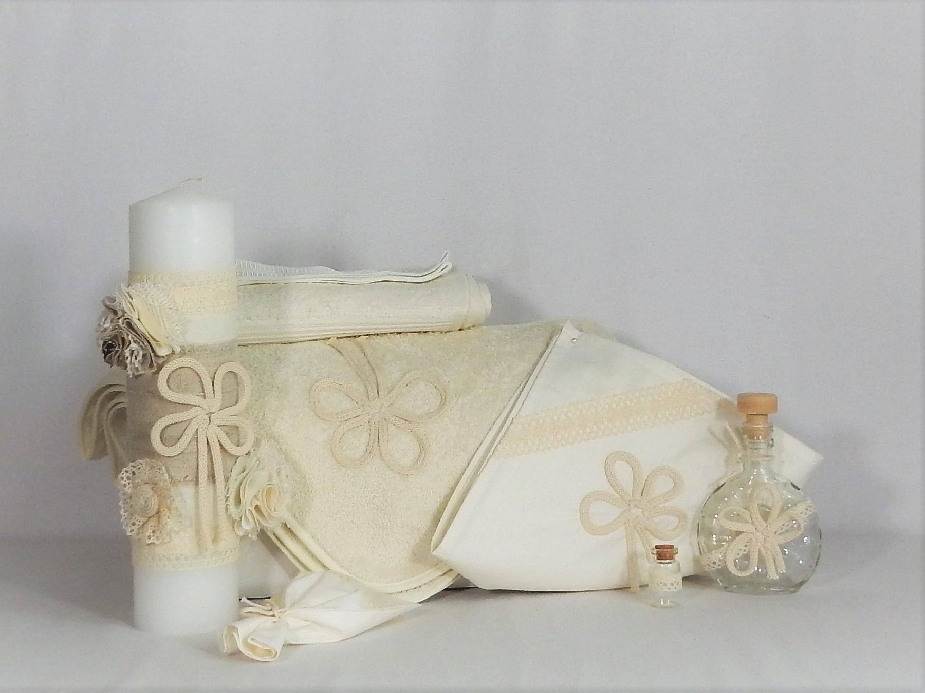 Set trusou ivoire cu lumânare parafină pentru botez- Ursitoarea cu Noroc