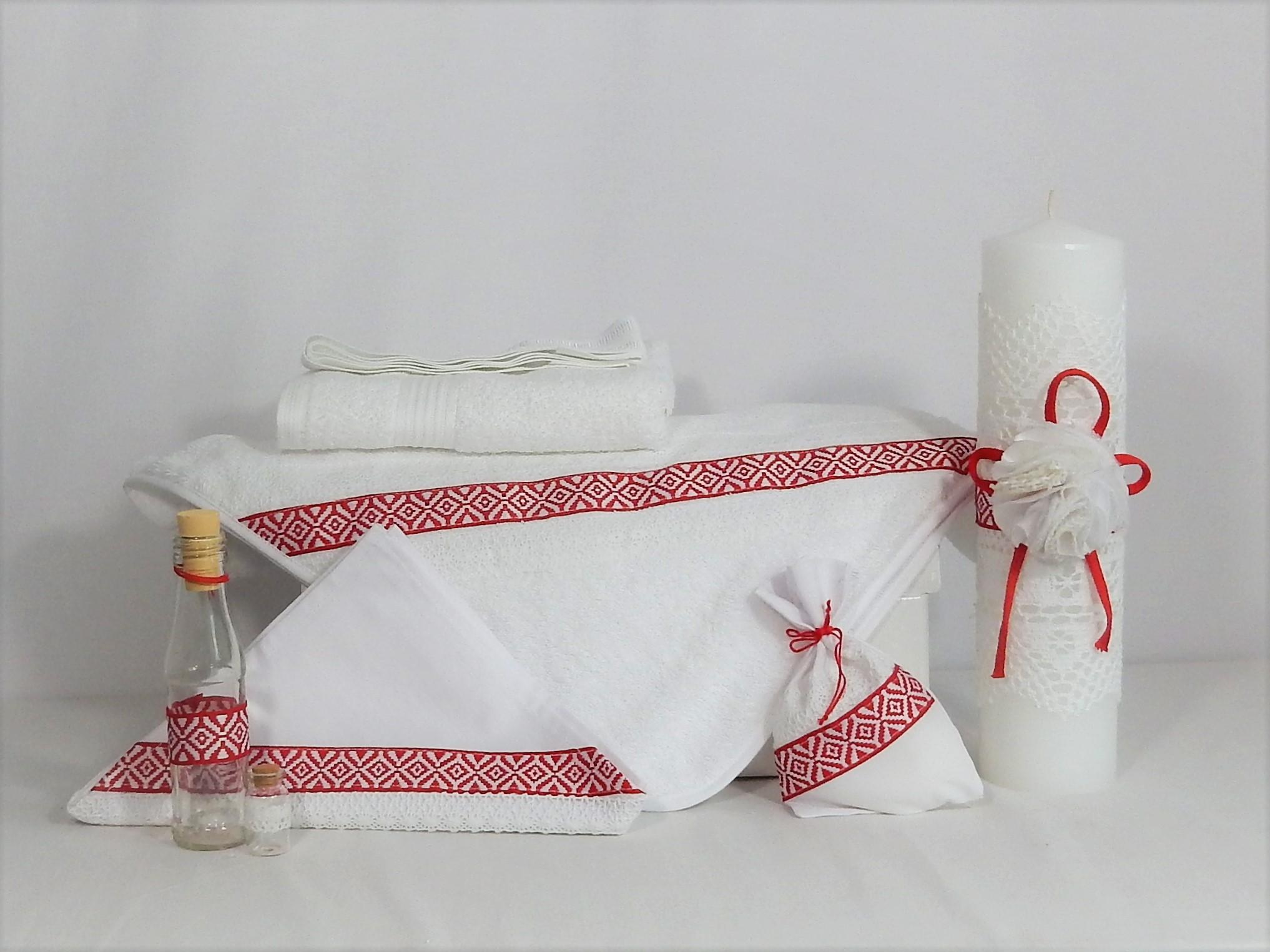 Set trusou alb tradițional cu lumânare pentru botez- Cusătură Roșie