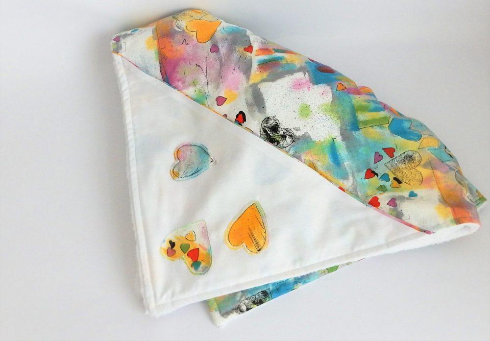 KUIB PATU18 paturica botez inimi colorate