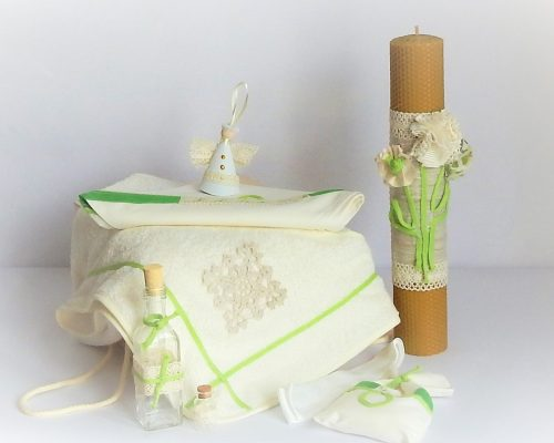 lumanare ceara naturala botez verde crud