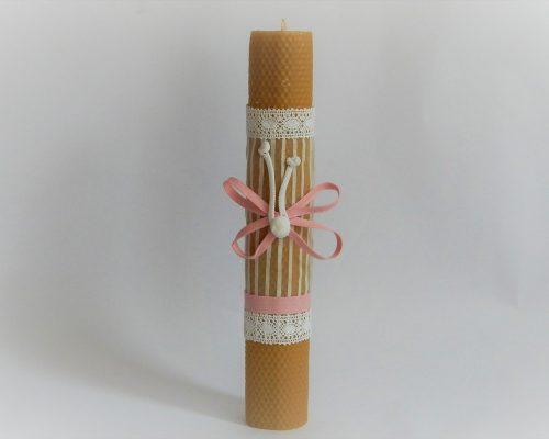 lumanare ceara de albine alb cu roz