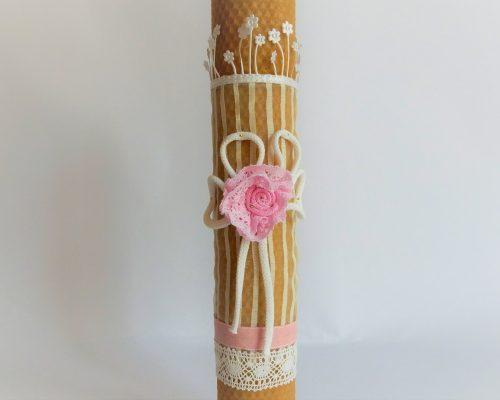 Lumanare ceara naturala alb & roz