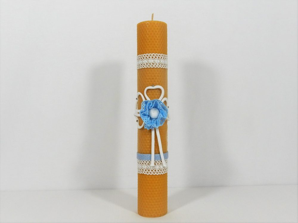 Lumânare unicat din ceară botez băieți- Noroc Bleu