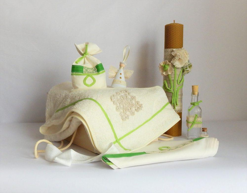 Set trusou ivoire cu lumânare pentru botez- Iarba Verde de Acasă