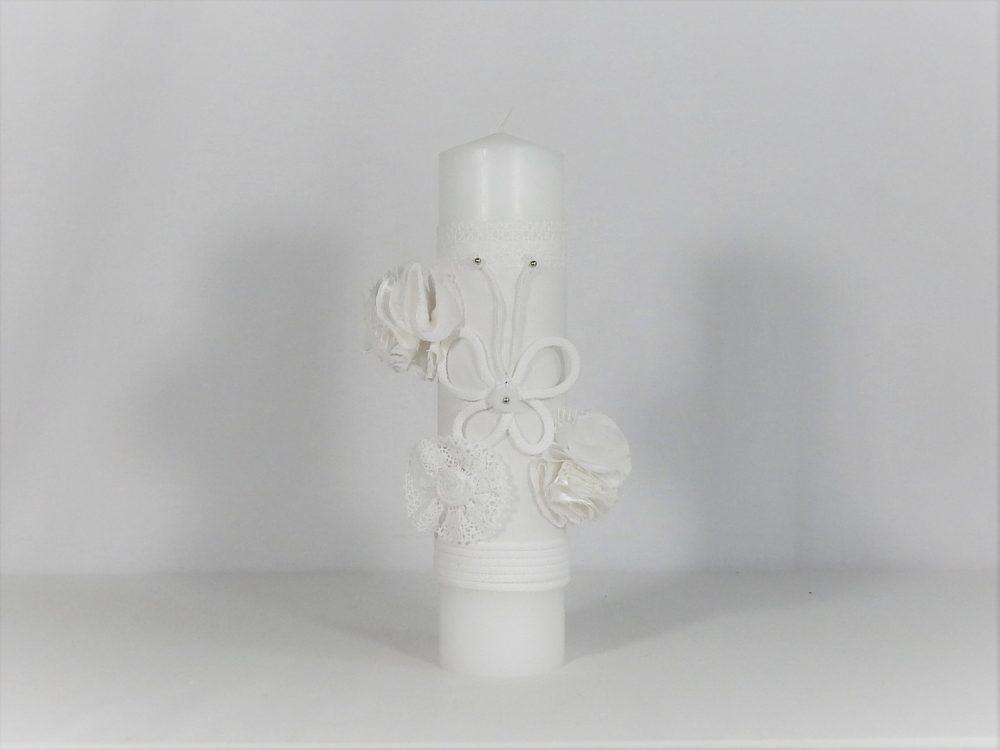 Lumânare handmade pentru botez Fluturaș Alb