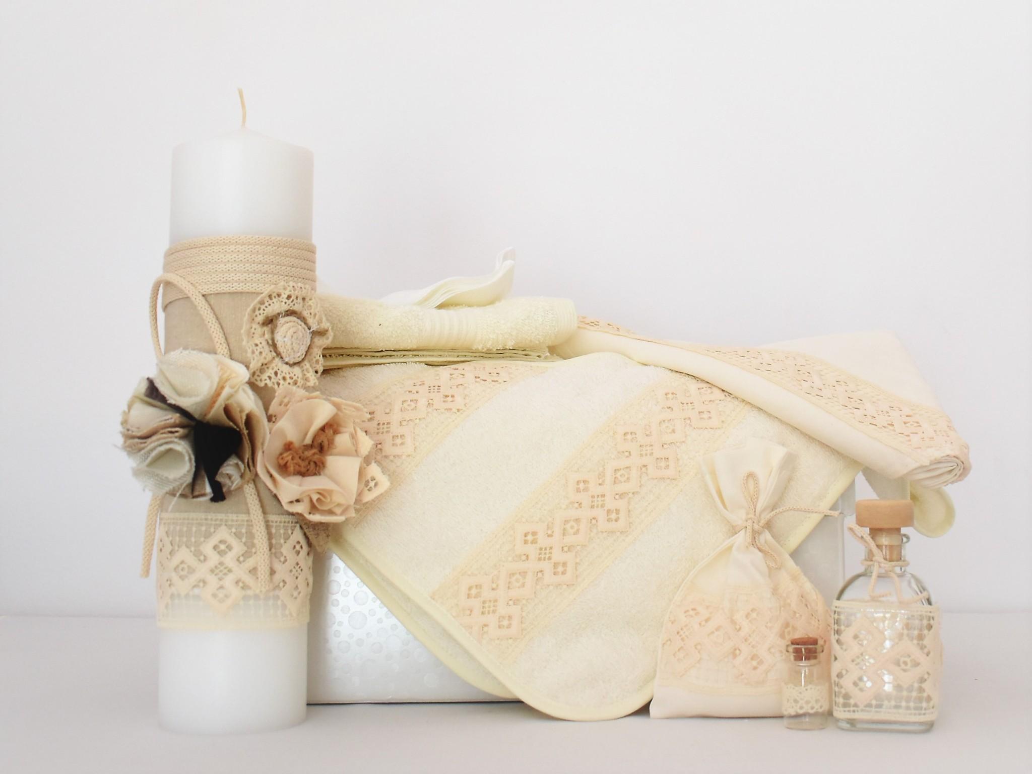 Set botez ivoire trusou cu lumânare Boabe de Grâu
