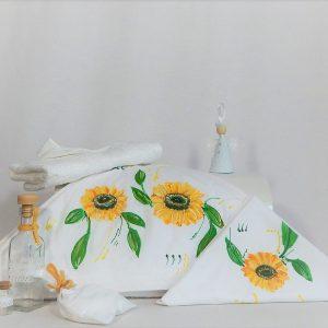 trusou botez unicat pictat Floarea Soarelui