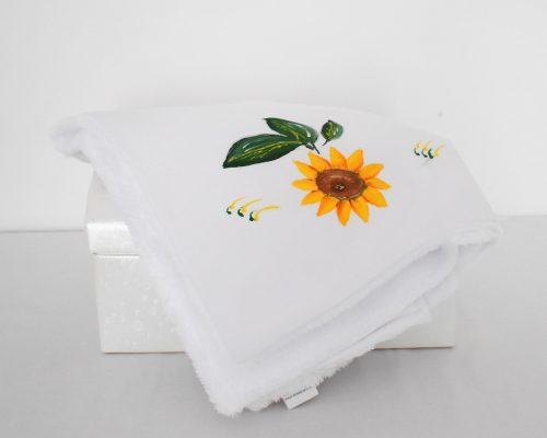 paturica unicat botez pictata floarea soarelui