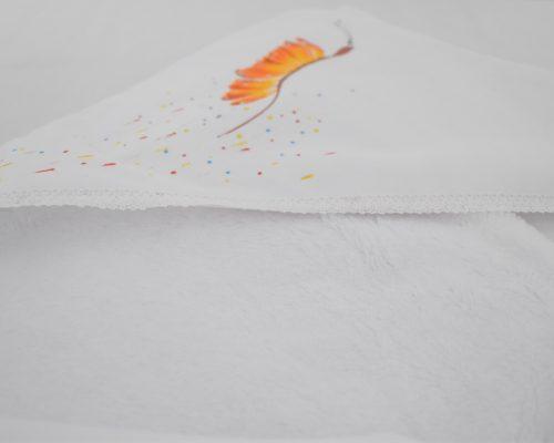 paturica unicat botez pictata fluturas galben