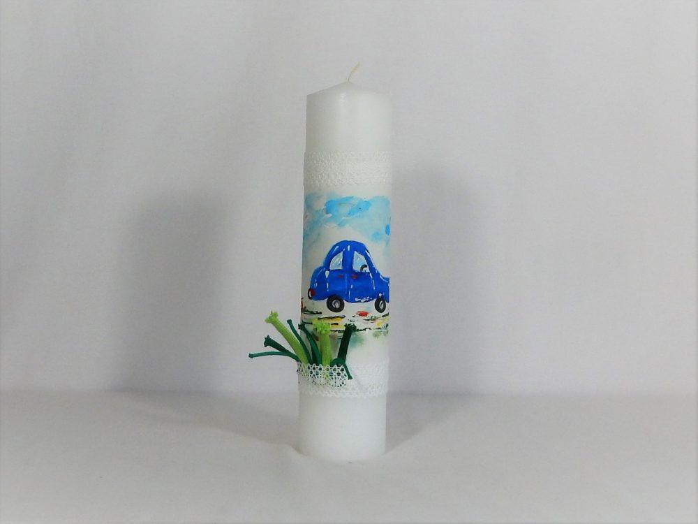 Lumânare pictată unicat pentru botez băieti- Mașinuța Albastră