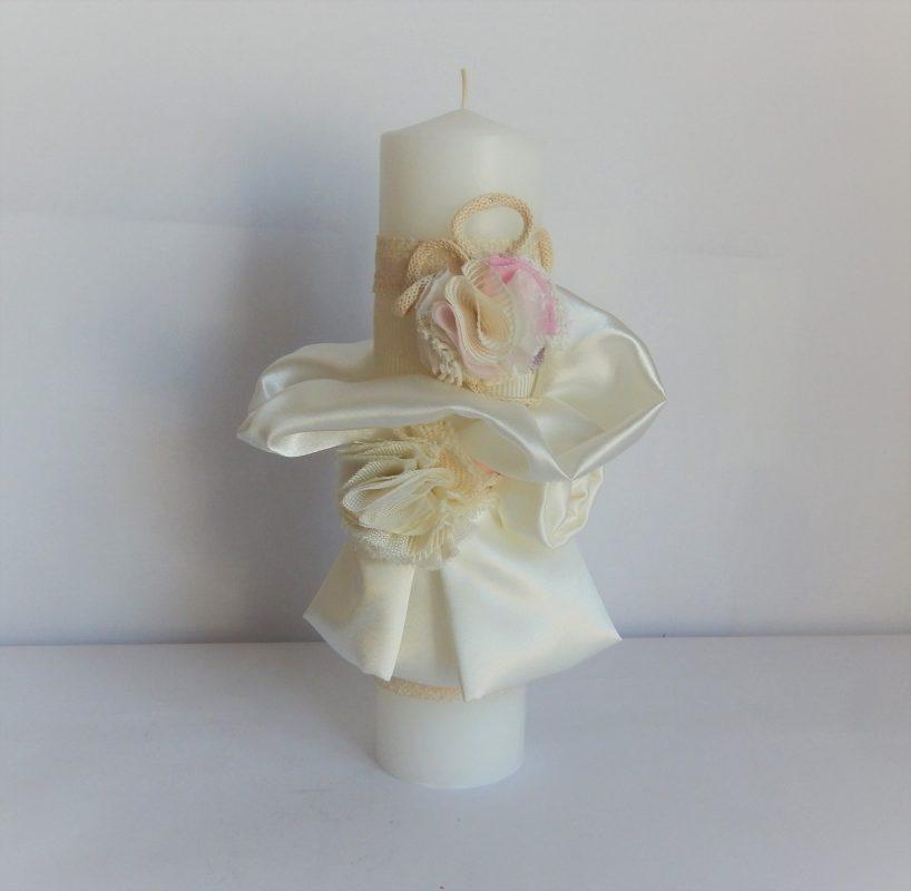 Lumânare unicat pentru botez- Spuma de Vanilie cu Frăguțe