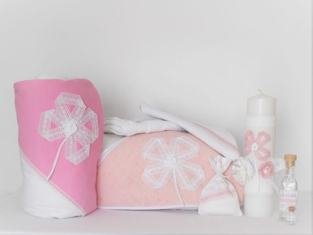 set botez alb cu gluga roz floare diafana