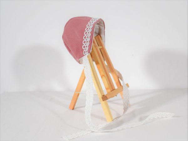 caciula botez fetite roz cu alb
