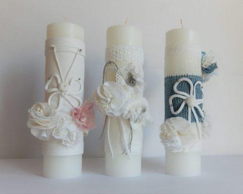 Lumânări albe, din parafină, pentru botez