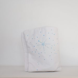Păturica pictata pentru botez bebe- Fulgi de Nea