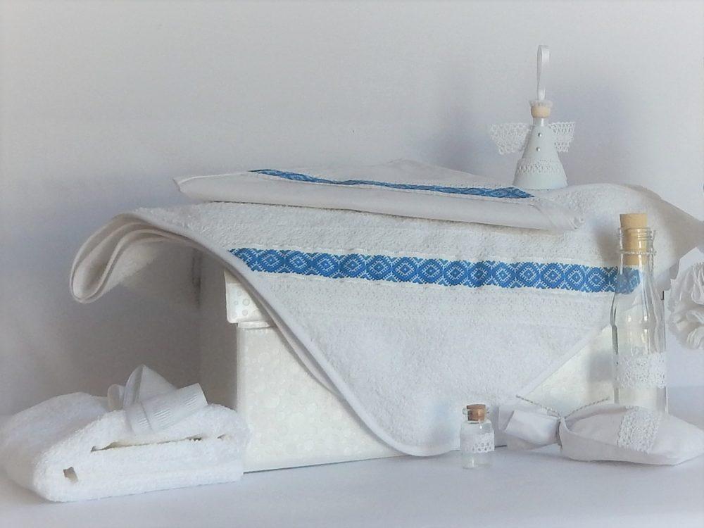 Trusou pentru botez traditional alb- Tradiție Albastră