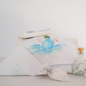 Trusou botez pictat unicat alb Om de Zăpadă