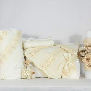 Set ivoire pentru botez- trusou, lumânare, păturică- Boabe de Grâu