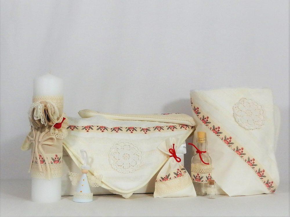 Set ivoire pentru botez tradițional- trusou, lumânare, păturică- Din Croșeta Bunei