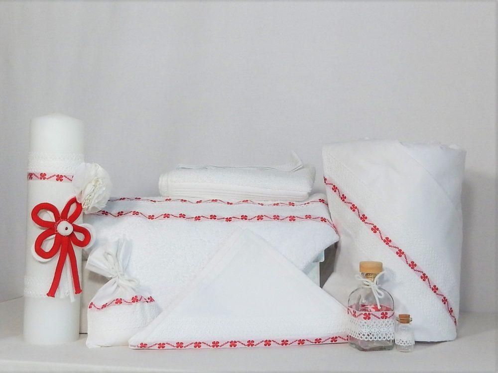 Set botez alb trusou cu lumânare și păturică- Trifoi Roșu cu Noroc