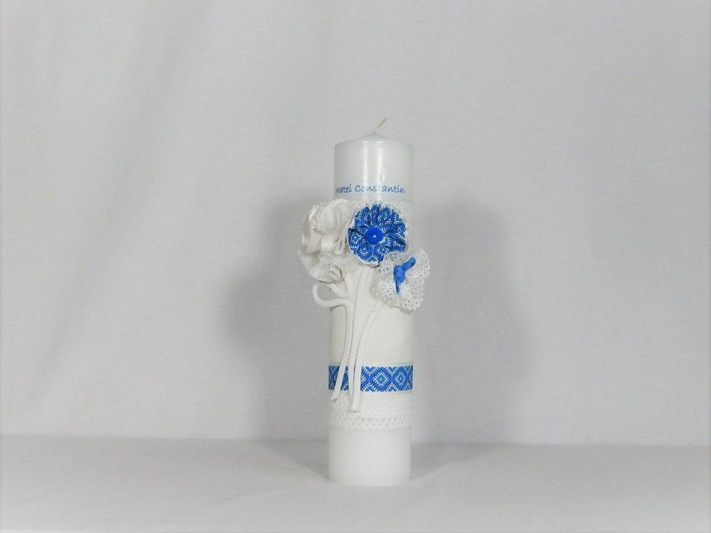 lumanare unicat botez cusatura albastra1