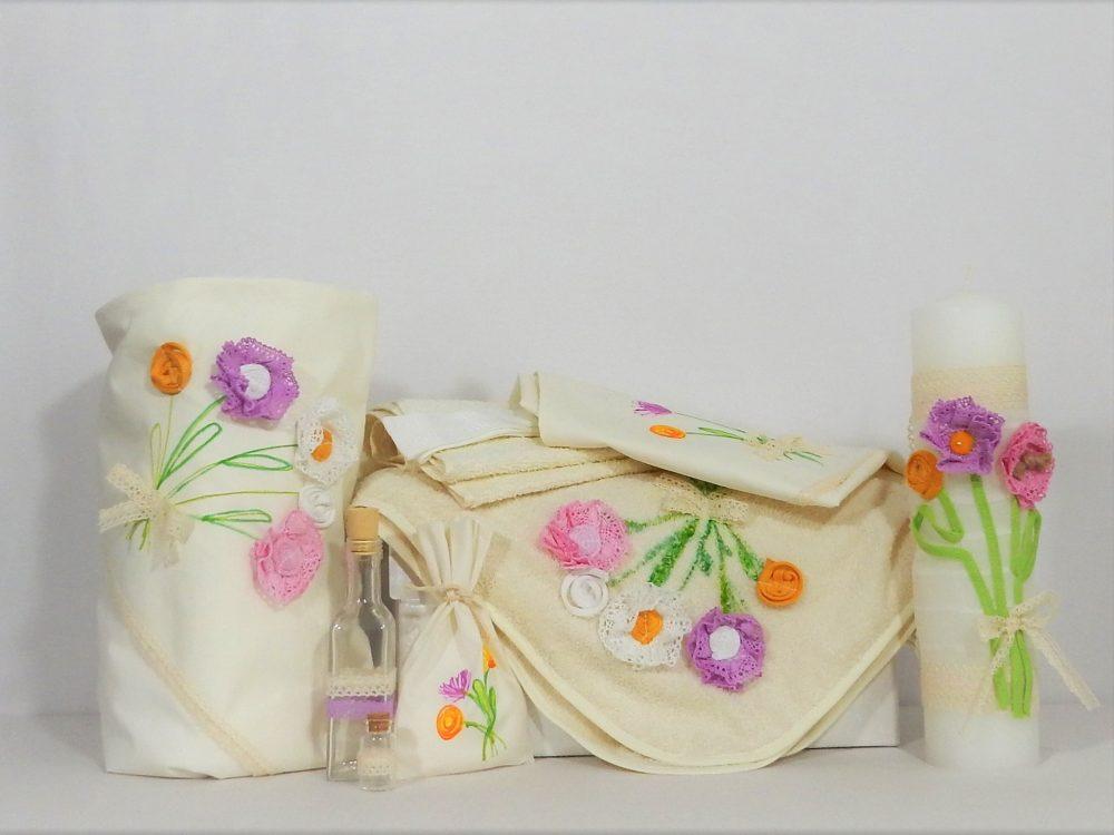 Colecția asortată ivoire pentru un botez unic- Flori de Vară