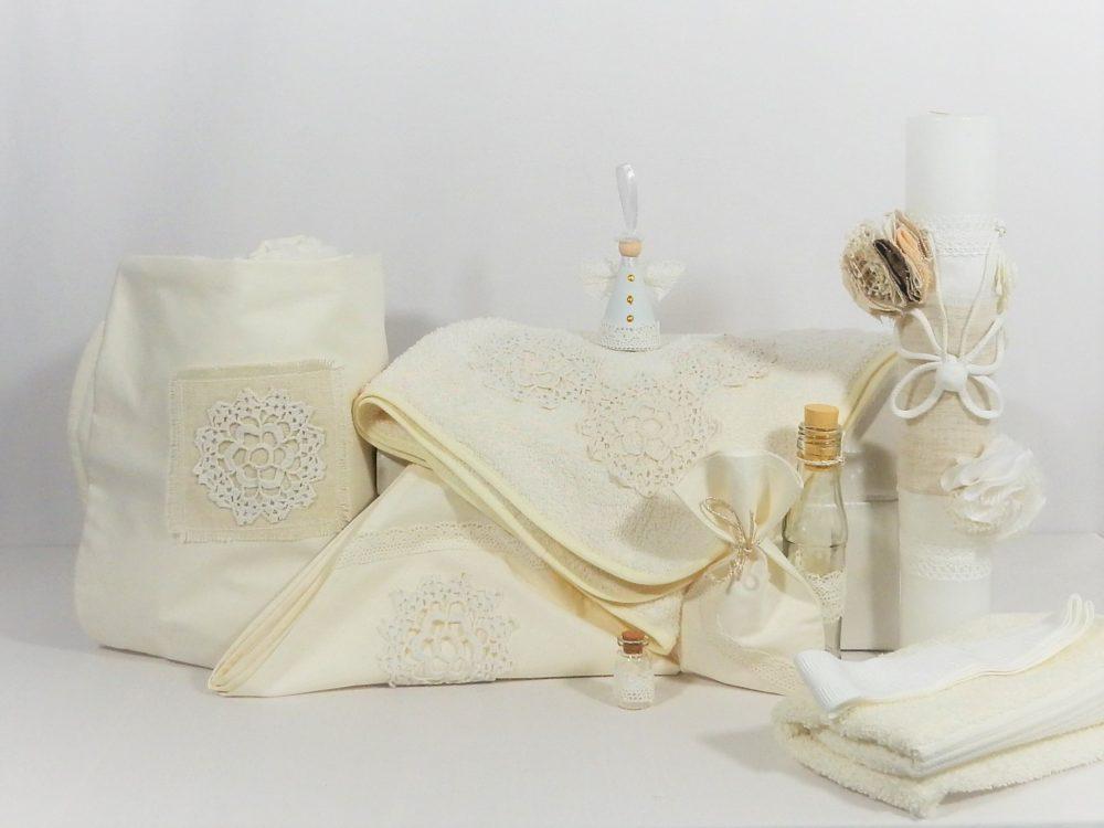 Set ivoire botez trusou, lumânare, păturică- Flori Măiastre