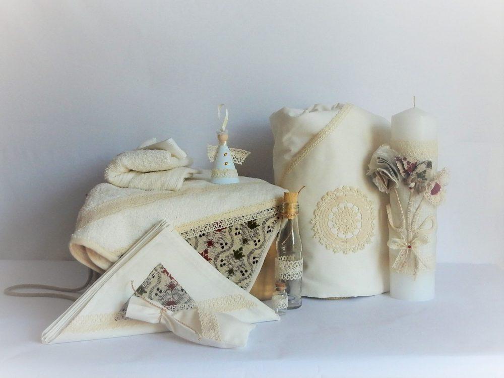 set trusou botez ivoire flori tesute