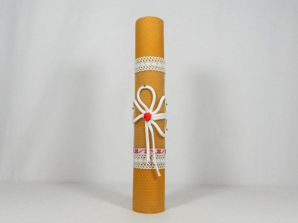 Lumânare unicat din ceară de albine- Trifoi Roșu cu Noroc