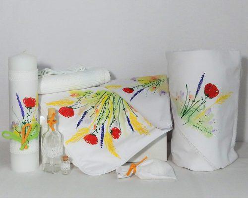 colectia botez unicat pictata flori de camp