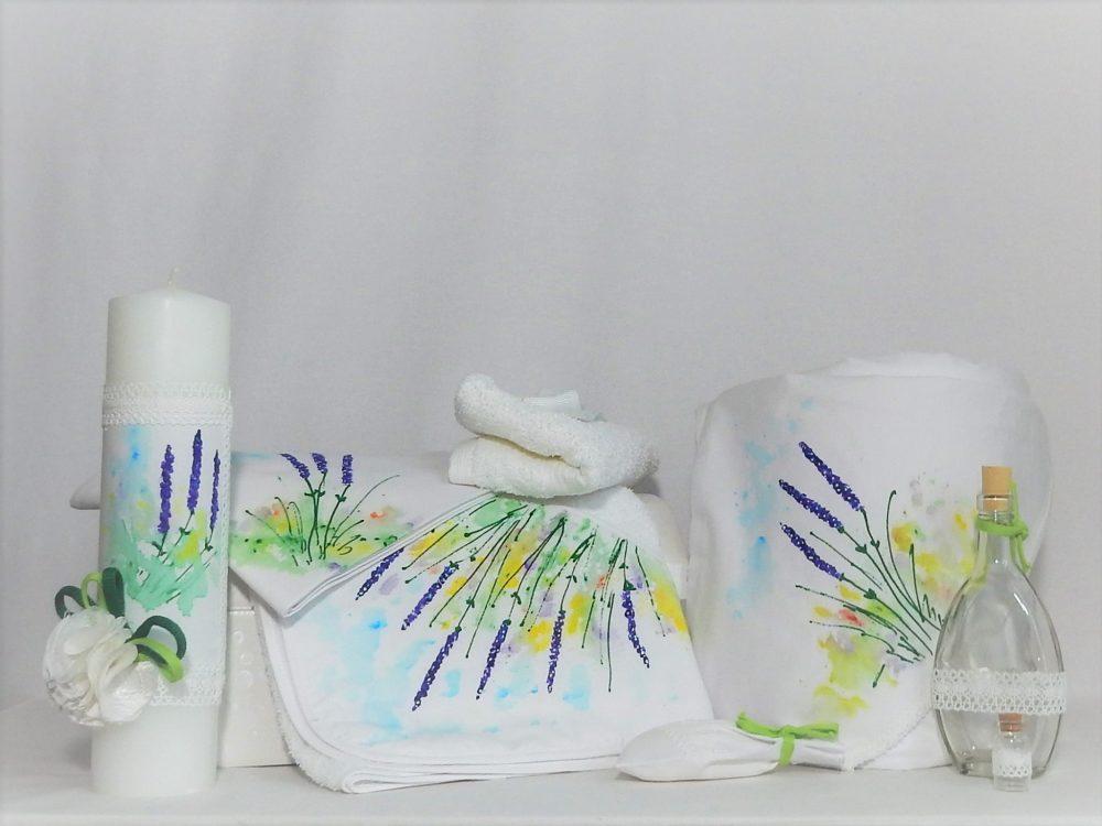Set pictat botez trusou, lumânare, păturică- Lavandă