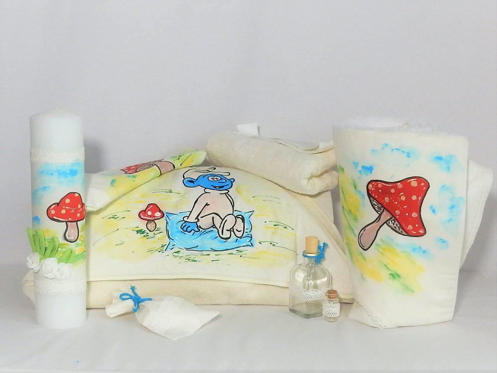Set pictat botez trusou, lumânare, păturică- Ștrumf