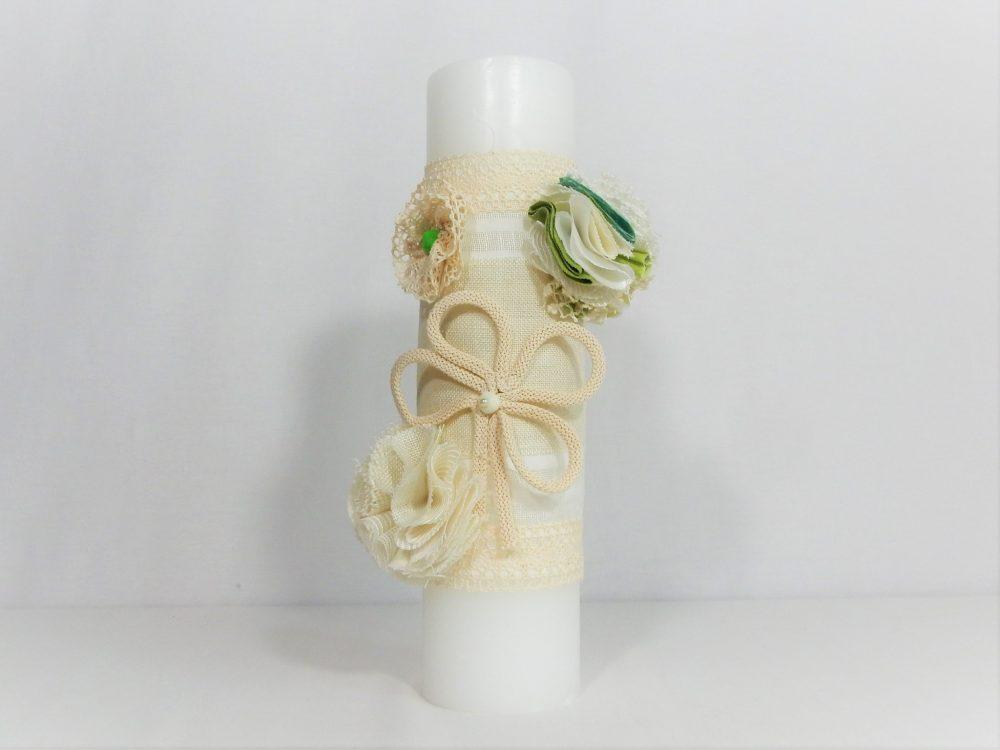 lumanare botez unicat noroc ivoire cu verde1