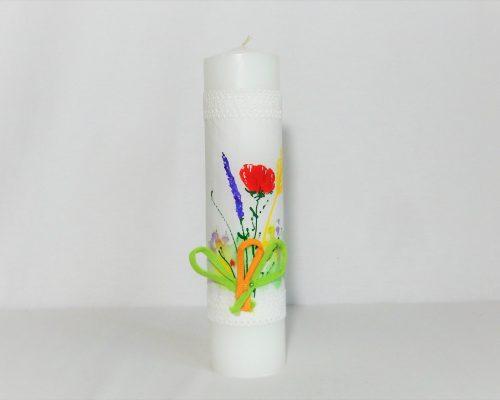 Lumânare pictată unicat pentru botez- Flori de Câmp