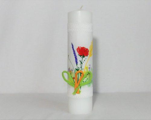 lumanare botez pictata flori de camp
