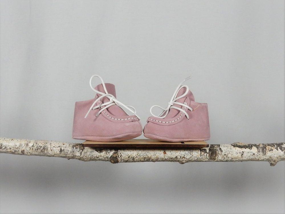 mocasini unicat botez piele roz pudra