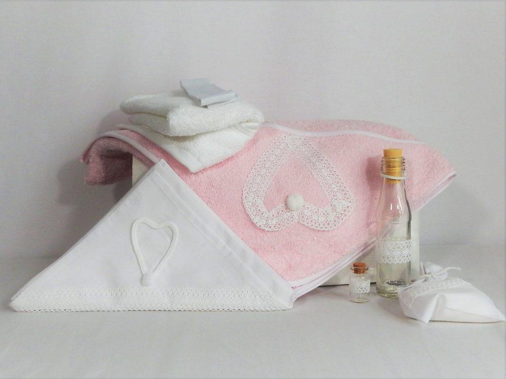 trusou botez delicatf roz inima alba