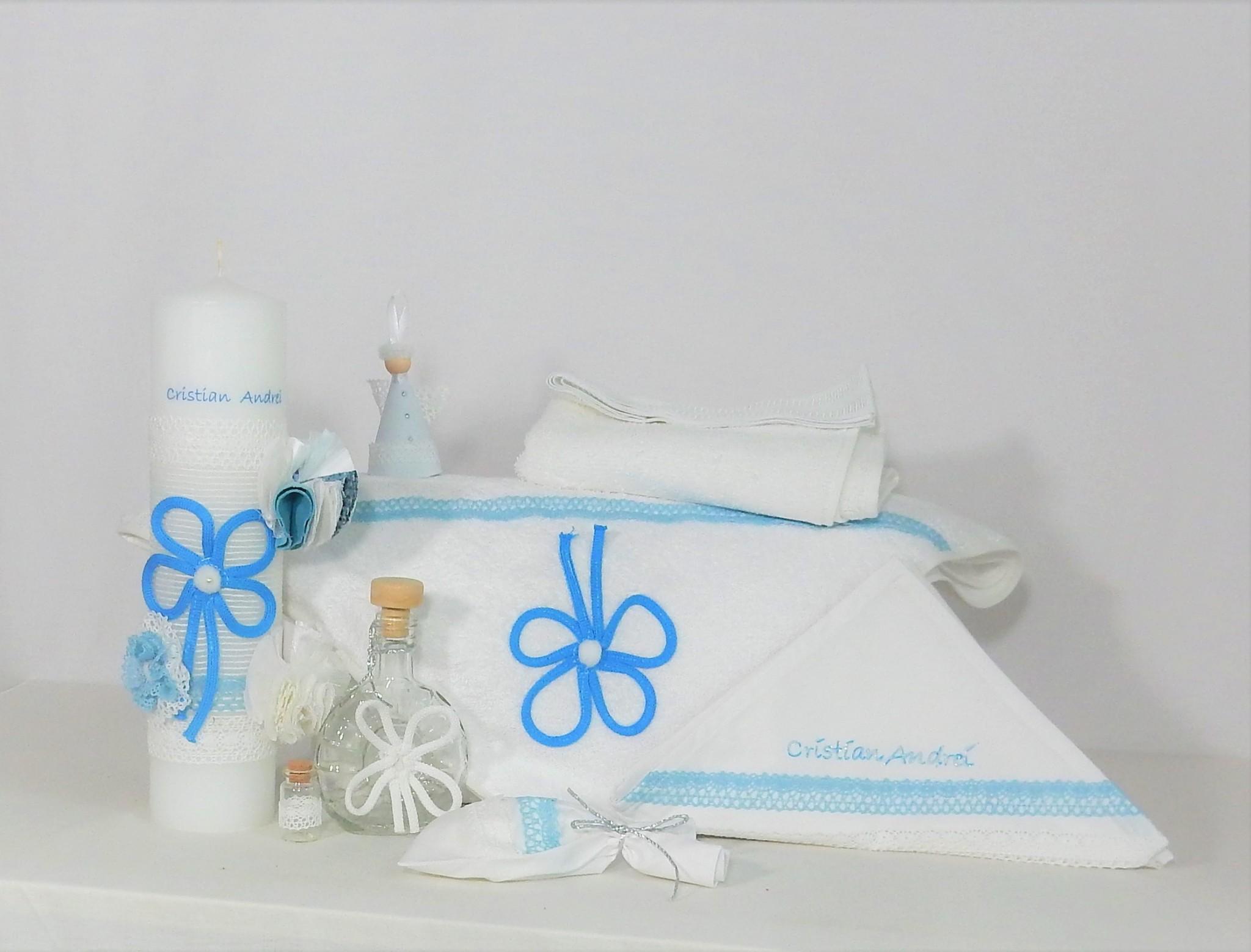 Colecția trusou botez cu lumânare - Bleu și cu Noroc